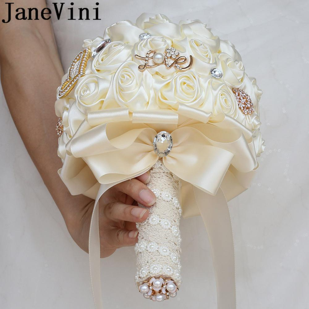 JaneVini Luxury Crystal Wedding Flower Bridal Bouquet De Fleurs 2020 Lace Satin Rose Beaded Pearls Romantic Ivory Bride Bouquets