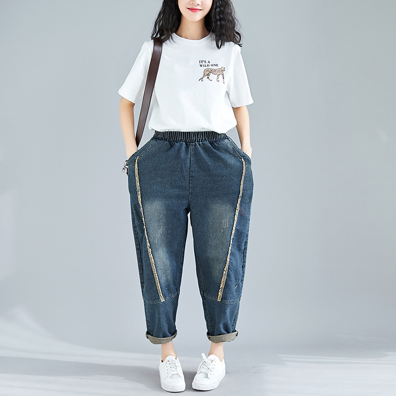 2019 Spring New Style Loose Large Size Jin Yao Tassels High-waisted Retro Slimming Wide-Leg Jeans Women's