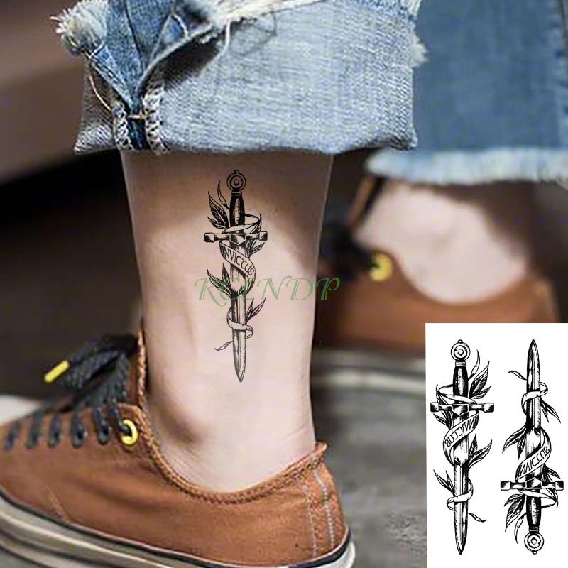 Waterproof Temporary Tattoo Sticker Dagger Knife Anchor Flash Tatoo Fake Tatto Arm Wrist Foot Hand Foot For Girl Men Women