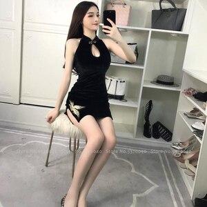 Image 5 - Vrouwen Strakke Chinese Stijl Cheongsam Qipao Formele Kleding Lady Nachtclub Sexy Bandage Party Split Bandage Jurken Coaplay Kostuums