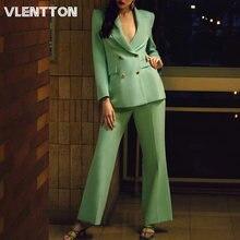 Женский двубортный пиджак на молнии офисный костюм с брюками
