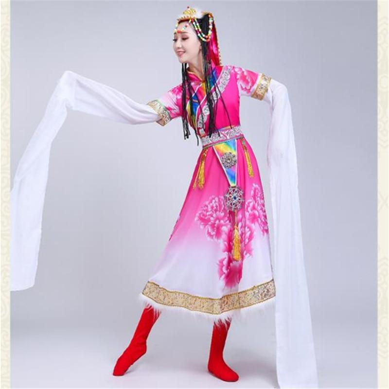 Совершенно новый горячий Тибетский танцевальный костюм женский взрослый длина съемные рукава миноритарный костюм сценический квадратный