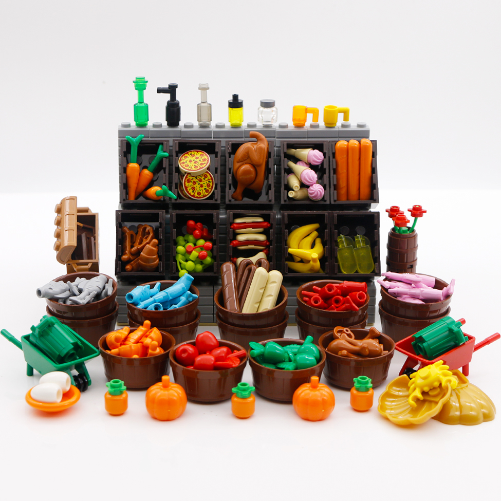 Bricks LegoINGly City Accessories Building Blocks Food Hot Dog Container Ice Cream Fish Fruit Toys Friends Kitchen Cabinet Parts