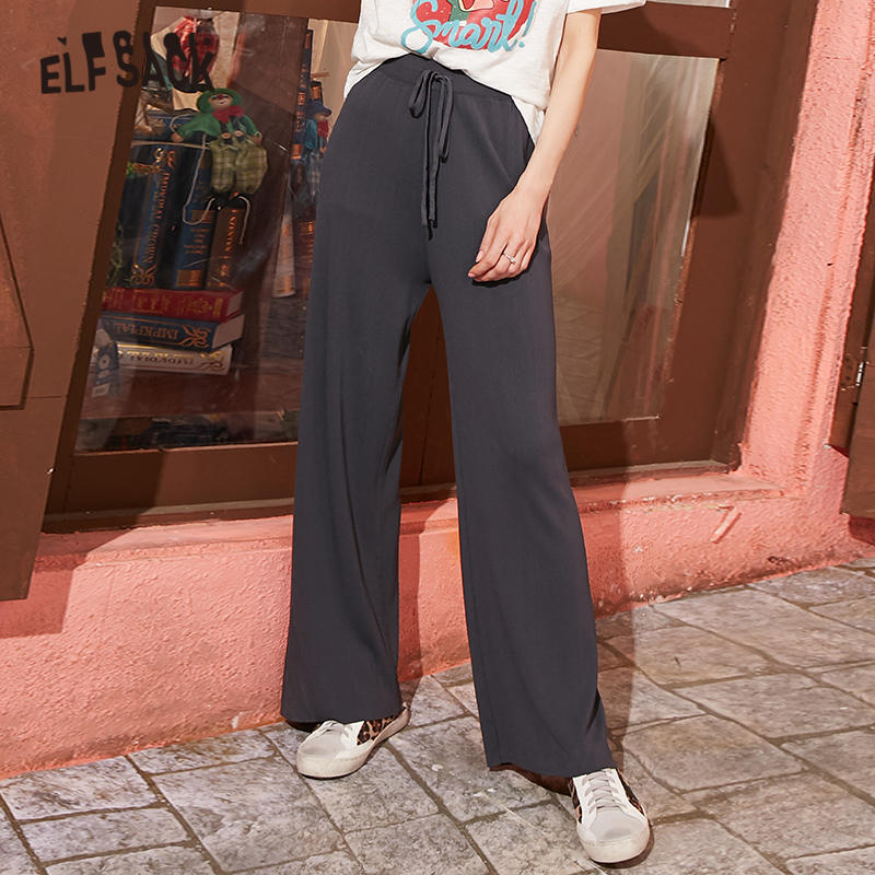 ELFSACK Black Solid Straight Wide Leg Women Casual Pants 2020 Spring Gray Pure High Waist Female Apricot Korean Daily Trousers