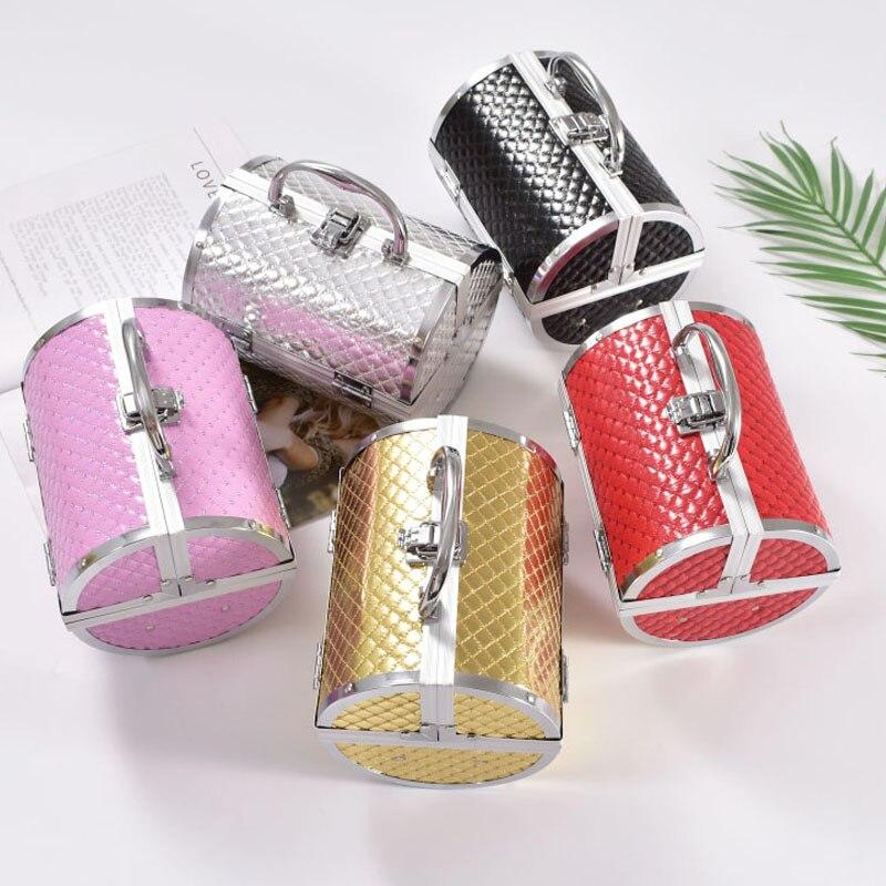 Caja de maquillaje de aleación de aluminio de diseño de almohada 2019 caja de maquillaje caja de belleza caja de cosméticos Multi niveles caja de joyería con cierre
