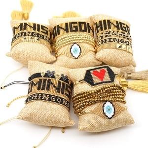 Image 1 - Go2boho Leopard Bracelet CHINGONA Power Pulseras Mujer Moda 2020 Heart Evil Eye MIYUKI Bracelet Jewelry FEMINISTA Women Handmade