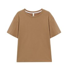 Toppies 2021 kadın t-shirt büyük boy pamuklu üst giyim Harajuku ekip boyun kısa kollu Tee kadın giyim katı renk