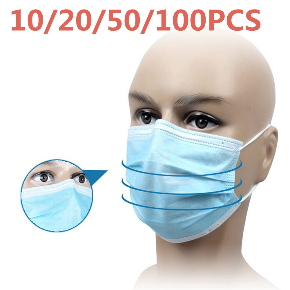 Disposable Face Masks Elastic Ear Loop Dust Filter Safety Anti-Pollution 3 Layer Hygiene Protection Masks