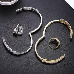 Image 2 - Luxury Cubic Zirconia Bangle Ring Set Women Wedding Jewelry Charm Opening Copper Bracelet XIUMEIYIZU Plating Jewelry Wholesale