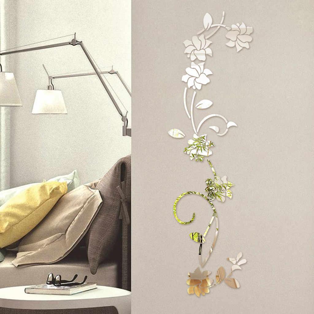 3D Diy 花の形のアクリル壁のステッカー現代のステッカー装飾アクリルミラー家の装飾壁アート壁ミラー