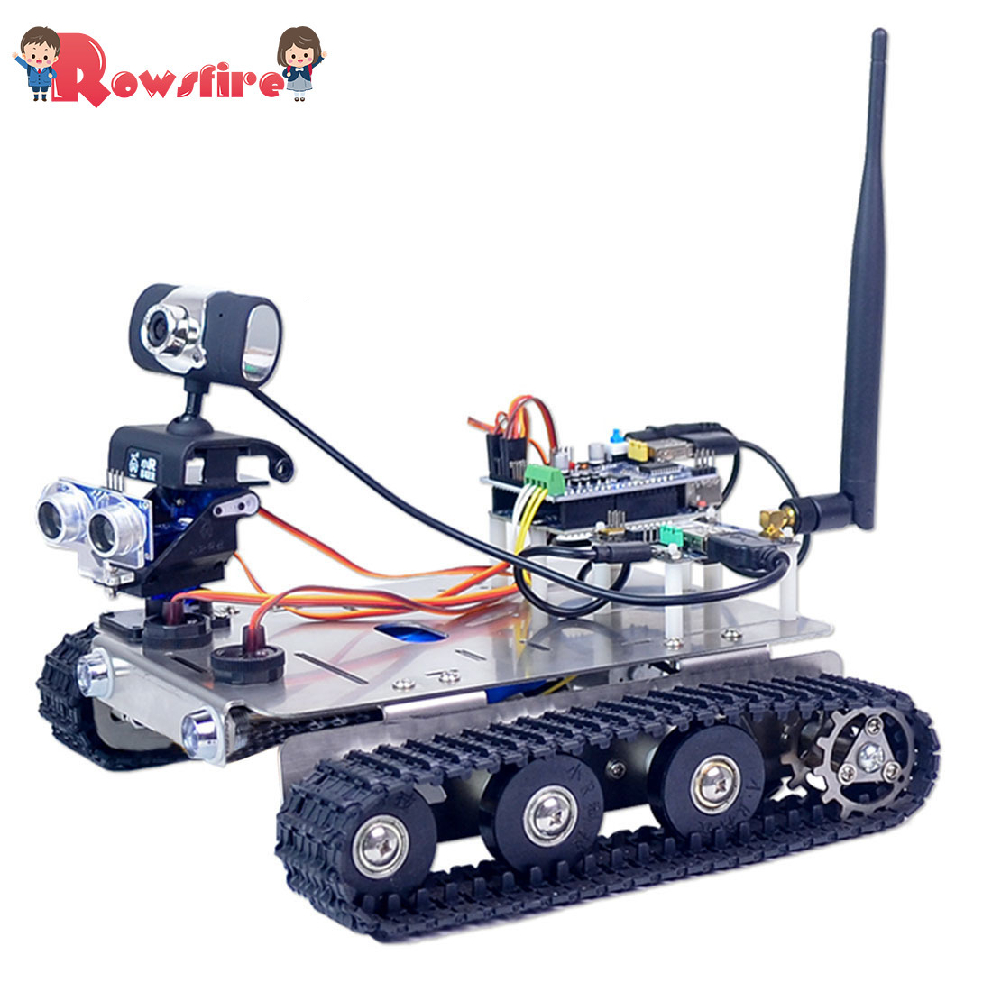 Programmable Robot DIY Wifi Stainless Steel Chassis Track Tank Car With Graphic Programming XR BLOCK Linux Standard Version