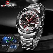 NAVIFORCE Luxury Brand Quartz Men Watches LED Digital Sport Wristwatches Steel Strap Waterproof Business Clock Relogio