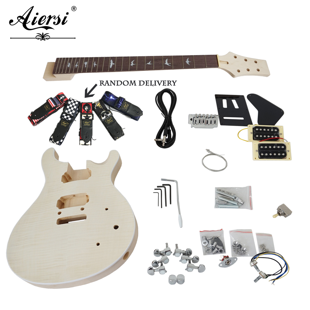 China Aiersi Unfinished DIY Custom 24 SE PRS Electric Guitar Kits With All Hardwares and Instruction BookEK-010 image