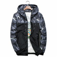 Spring Autumn Mens Jackets Camouflage Military Hooded Coats Casual Zipper Male Drawstring Patchwork Windbreaker Brand Clothing