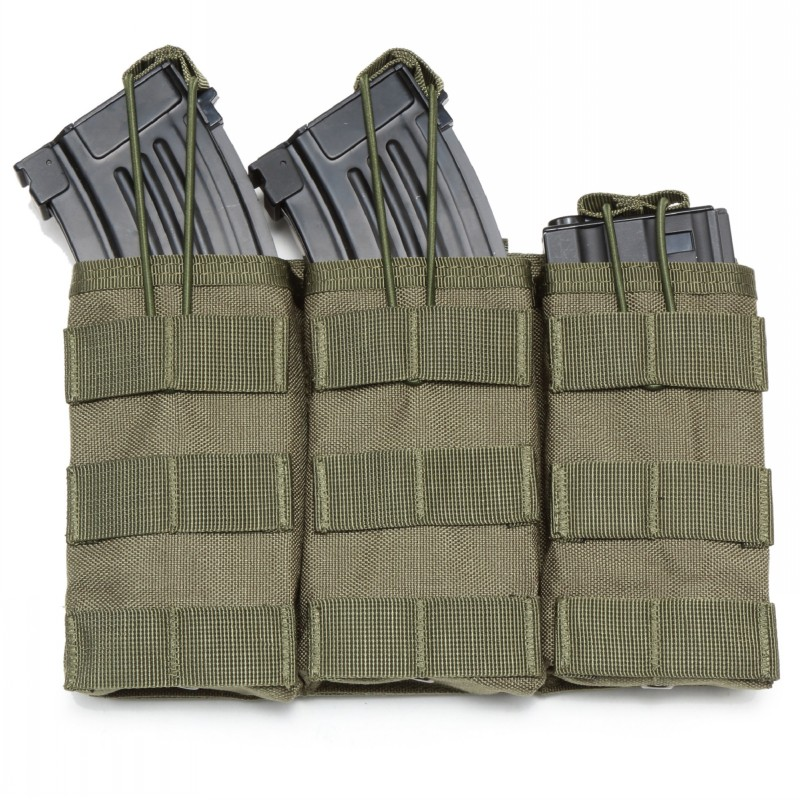 Tactical <font><b>M4</b></font> M16 AK Molle <font><b>Magazine</b></font> Pouch Military Army Accessories Airsoft Paintball Hunting Triple Open Top Rifle Mag Bag Holder image