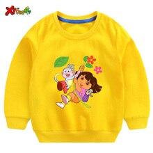 3T-7T NEW 2019 Winter Sweatshirts Funny Cartoon Dora Kids Print Hoodies 6T Girls Cute Childrens Baby Girl Clothes