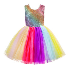 Girls Rainbow Sequins Tutu Dress Colorful Striped Princess Frocks for Kids Children Day Party Prom Dresses Girl Rainbow Vestidos girls rainbow print striped dress