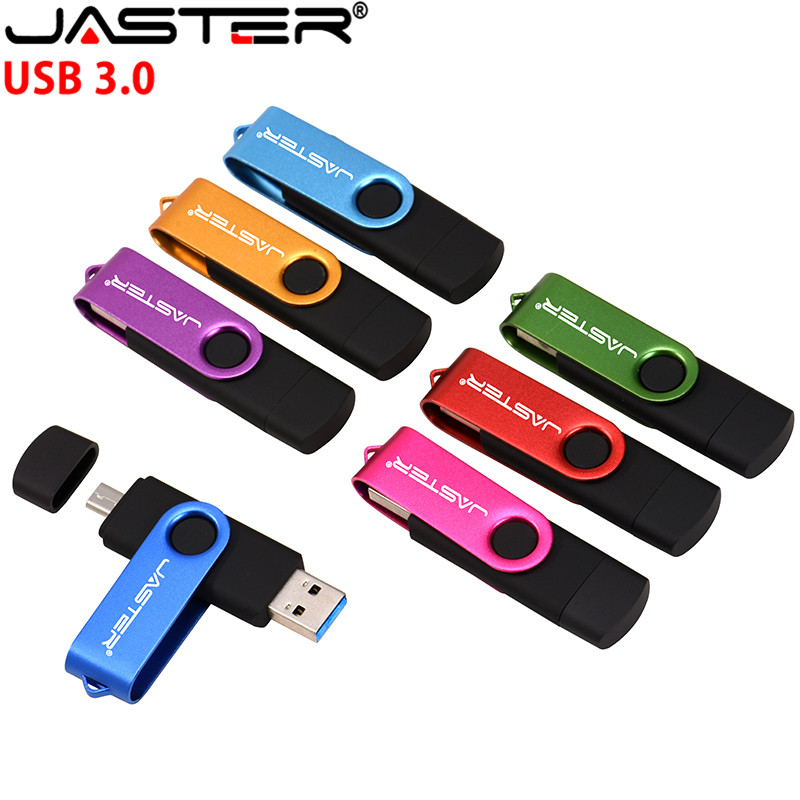 JASTER High Speed USB3.0 Flash Drive OTG Pen Drive 128gb 64gb Usb Stick 32gb Pendrive Flash Disk For  Micro Usb SmartPhone/PC