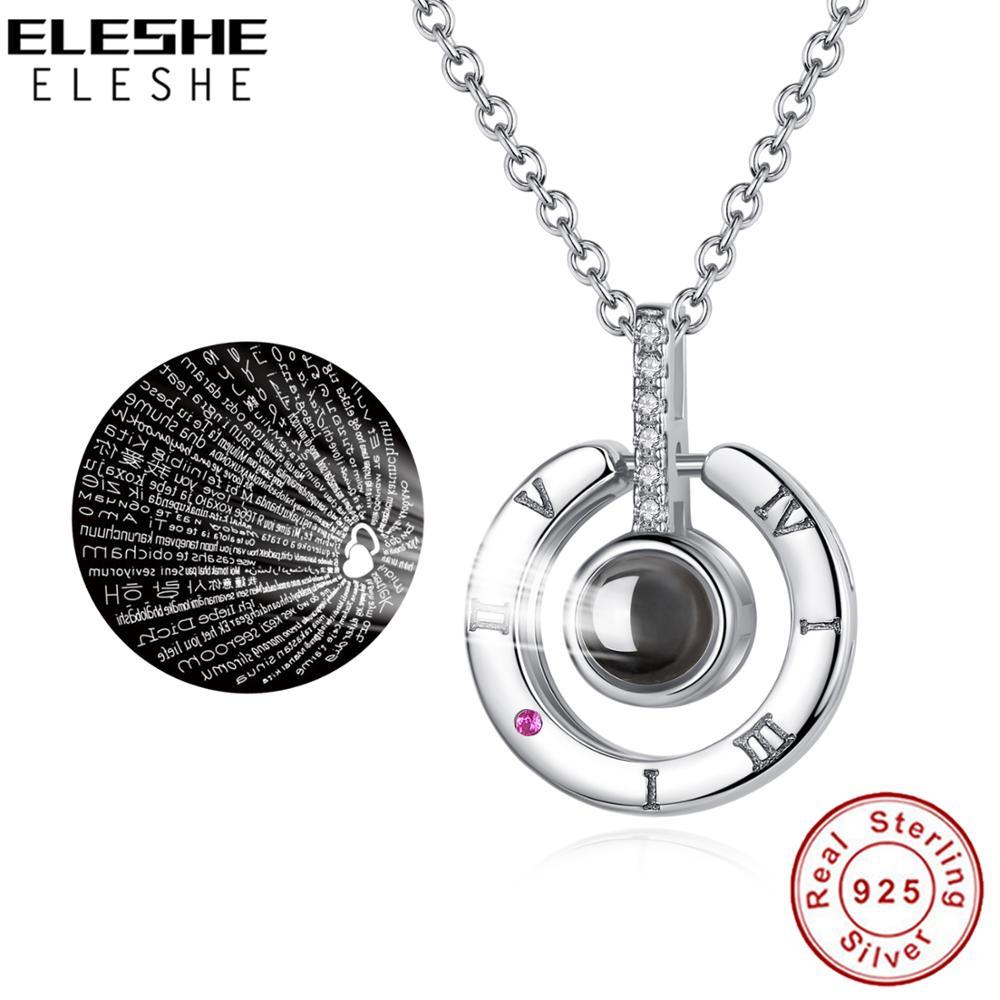 925 collier en argent Sterling 100 langues je t'aime Projection collier pour mémoire d'amour femmes bijoux collier ras du cou Collares