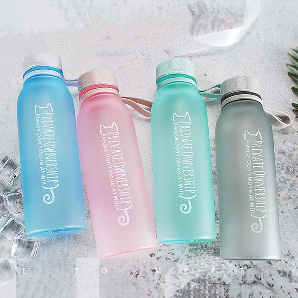 Water Bottle Plastic Sports Leak Proof Scrub Portable Fashion Drink Ware Adult