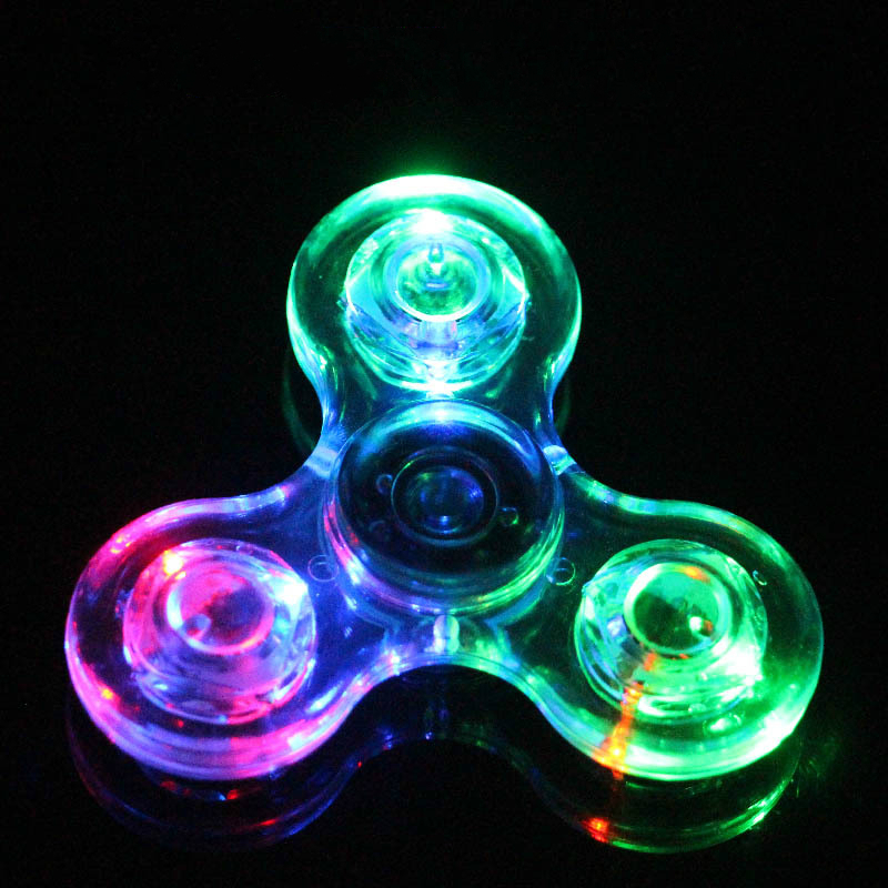 Fidget Hand Spinner Finger Spinner Toy Focus Tri Spinner Fingertip Gyro Transparent Flash LED Flash  Reduce Stress Gift Plastic