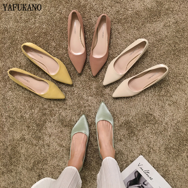 Simple Small Fresh High Heels 2020 Pointed Toe Thin Heels Pumps Sweet Candy Color Party Dress Womens Shoes Lady Office Work Shoe