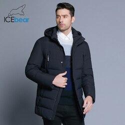 ICEbear 2019 Новая зимняя мужская куртка с высококачественной тканью Съемная шапка для мужского теплого пальто простое Мужское пальто MWD18945D