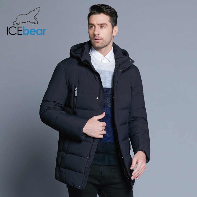 Icebear 2019 novo inverno jaqueta masculina com alta qualidade tecido destacável chapéu para masculino casaco quente simples casaco masculino mwd18945d