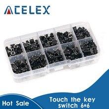 Kit de commutateurs tactiles tactiles à bouton-poussoir, 10 modèles, 100 pièces, micro commutateurs DIP 4P 6x6, hauteur: 4.3MM ~ 13MM