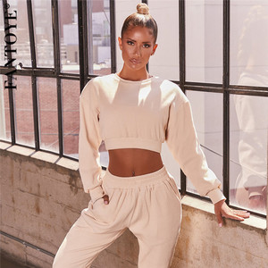 FANTOYE Casual O Neck Sporty Two Pieces Set Women Autumn Long Sleeve Short Top Pocket Straight Pant Suit Solid Fitness Tracksuit