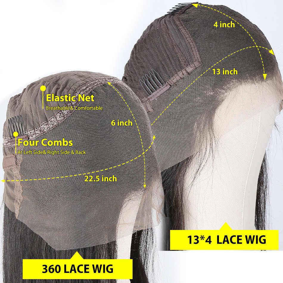 Reta Brasileiro 180 Densidade Glueless Lace Front Perucas Para As Mulheres 360 Lace Wig Frontal 13x4 Parte Dianteira Do Laço Do Cabelo Humano Perucas Cheias Do Laço