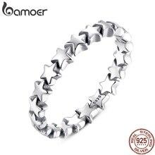 BAMOER горячая Распродажа серебряное 925 штабелируемое кольцо на палец для женщин Свадебное 925 пробы Серебряное ювелирное изделие Лидер продаж PA7151