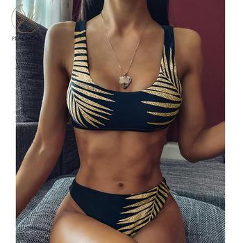 Vertvie Vintage bandeau bikini set 2020 Print swimsuit female High cut swimwear women Brazilian bikini Bathers bathing suit new 1