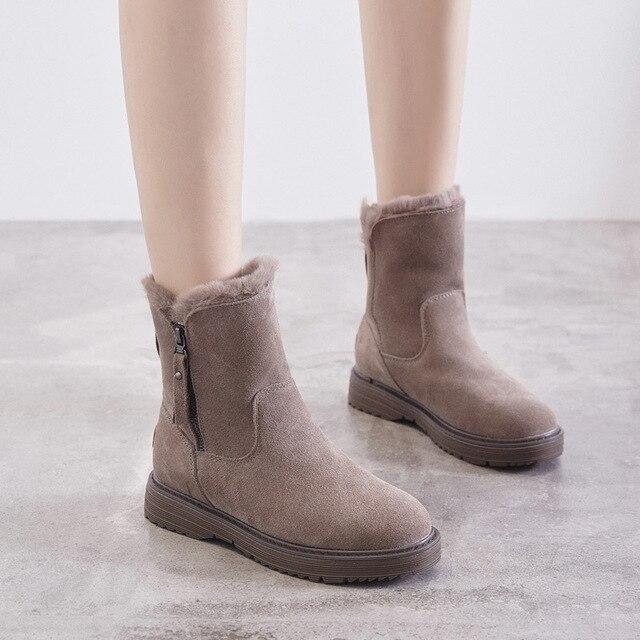 Del Cuoio genuino Pattini Delle Donne di Inverno Stivali Da Neve Caldo Scarpe Inverno Freddo Stivali Donna Caviglia Femminile Altezza Crescente scarpe 4.5 centimetri YX1668