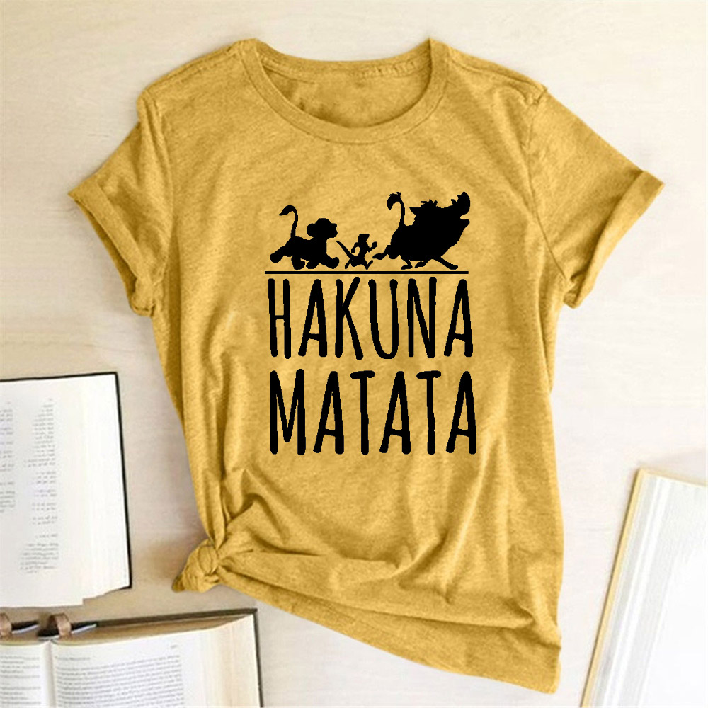 Hakuna Matata T Shirt Female Women Fashion Cute Short Sleeve Crewneck Hipster T Shirt Playeras De Mujer De Moda 2019 Graphic Tee