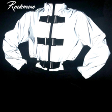 Rockmore Reflective Turtleneck Womens Jackets And Coats Buckle Streetwear Short