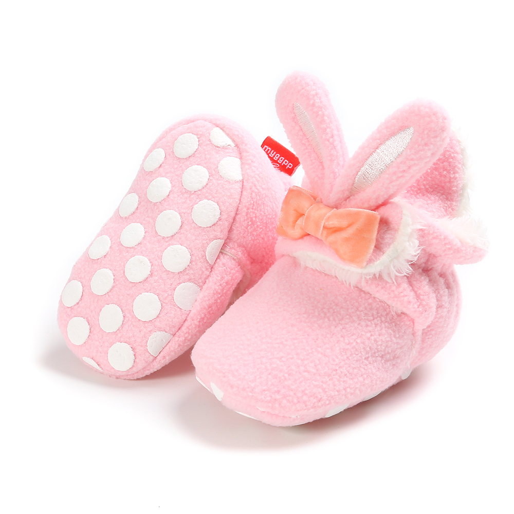 Baby Girls Shoes Snow Boots Winter Baby Furry Warm Boots Rabbit Leather Boots Infant Soft Bottom Shoes