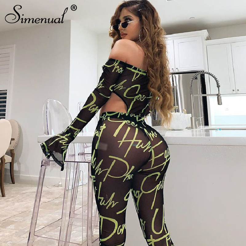 Simenual Mesh Sexy Hot Transparent Women Co-ord Set Letter Print Off Shoulder 2 Piece Outfit Long Sleeve Bodysuit And Pants Sets