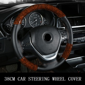 цена на 38CM Wooden Pattern Steering Wheel Cover Universal Braiding Leather Car Wheel Cover Sports Style Covers For Steering Wheel