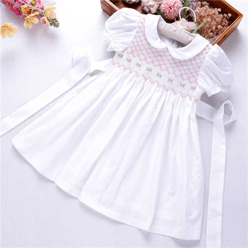 hand printed Dress smocked girl cotton birthday wedding embroidered dress white dress flower girl 2 to 12 years old ceremonysmocked dress pink