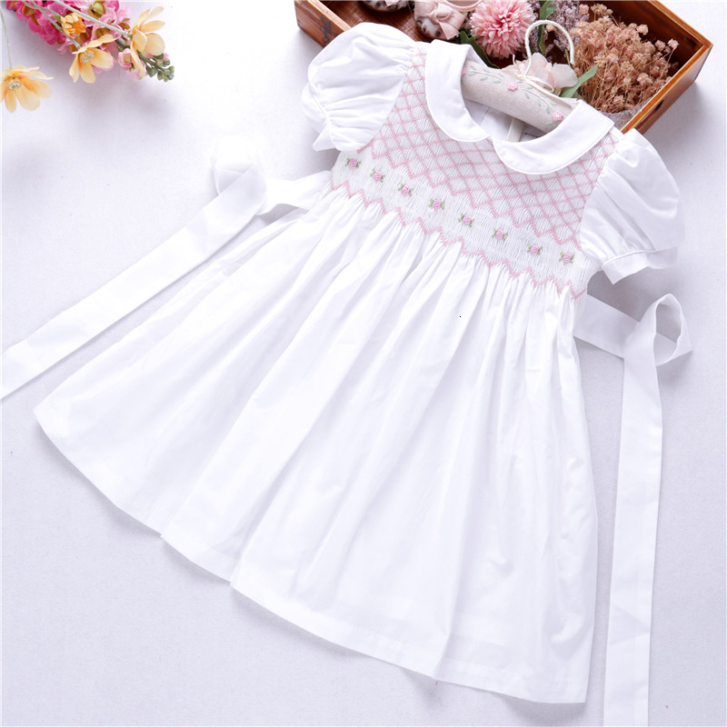 smocked dresses for girls white dress hand made kids clothes solid pink blue boutiques children's clothing C191122575