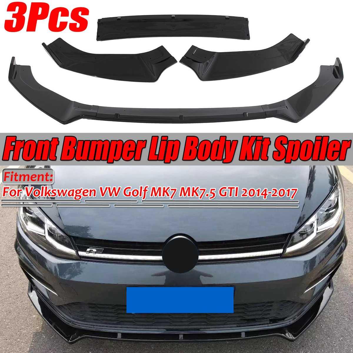 3 Pcs Glanzend Zwarte Auto Voorbumper Splitter Lip Spoiler Cover Trim Voor Volkswagen Vw Voor Golf MK7 MK7.5 gti R Gtd 2014-2017