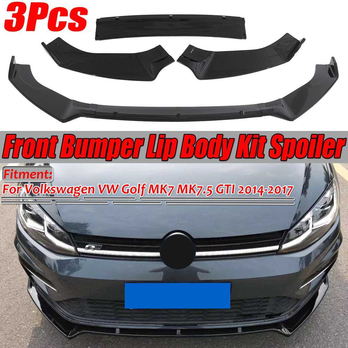 3PCS Glossy Black Car Front Bumper Splitter Lip Spoiler Cover Trim For Volkswagen For VW For Golf MK7 MK7.5 GTI R GTD 2014-2017