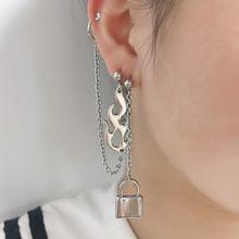 Streetwear Punk Rock Flame Shape Drop Earrings Biker Cross Fire Blaze Lock Chain Dangle Earrings Fashion Jewelry Women