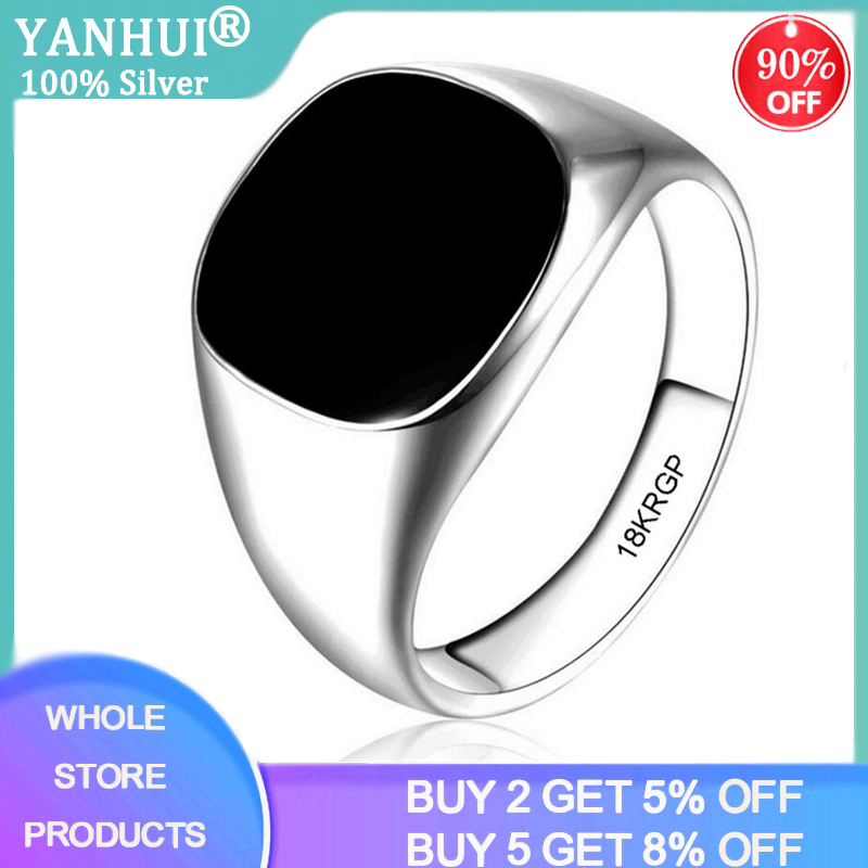 YANHUI Luxury Big Black Onyx Gemstone Rings For Men 18K White Gold Color Punk Cool Jewelry Ring Men Accessory Gift R0378