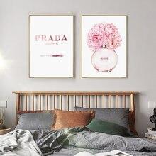 Cor-de-rosa flor frasco de perfume coco arte da parede poster moda mulher lona pintura abstrata moderno vogue fotos para a decoração do quarto da menina