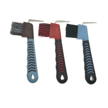 Borracha macia antiderrapante da picareta do casco do aperto do uso duplo com ferramentas da limpeza da escova ferramentas do grooming do cavalo durable-cor aleatória 1pc