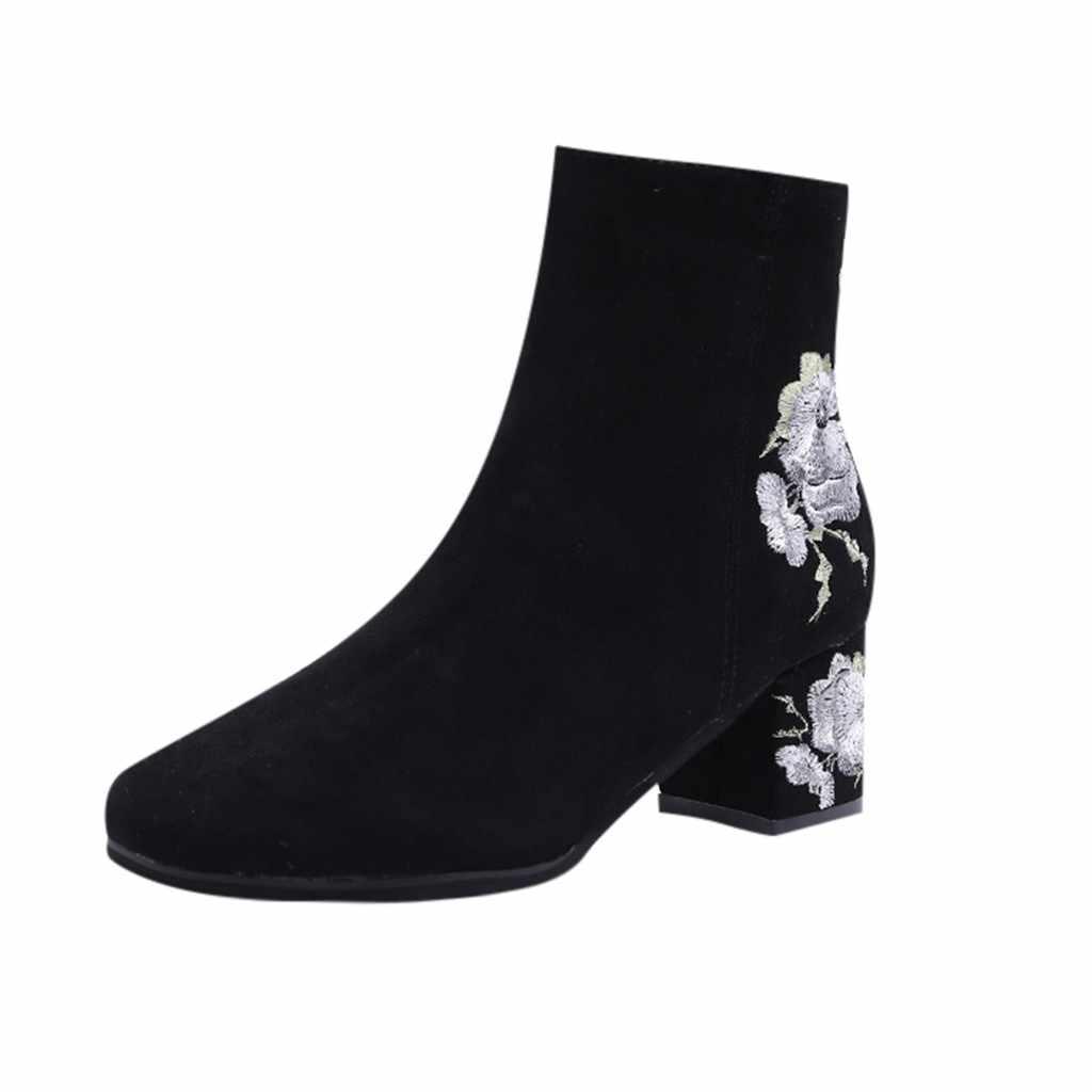 Frauen mode stickerei stiefel warme wasserdichte hohe ferse stiefel runden kopf schuhe botines mujer 2019