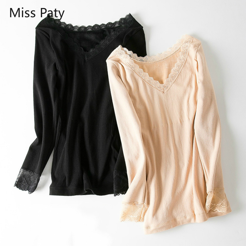 Sexy Lace Slim Underwear Blouse For Women Winter Velveteen Thermal Shirt Elegant V-neck Thick Warm Long Sleeves Tops Basic 2019