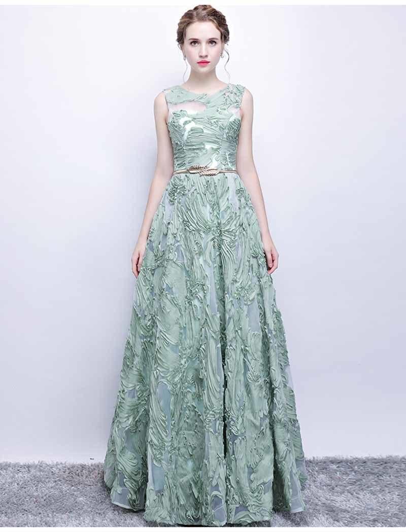 N personnalisé Floral Applique Illusion vert de luxe robe de soirée grande taille robe Maxi tapis rouge robe de bal grande taille 5xl - 2
